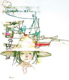 いわさきちひろ『少女と港の風景』1970年