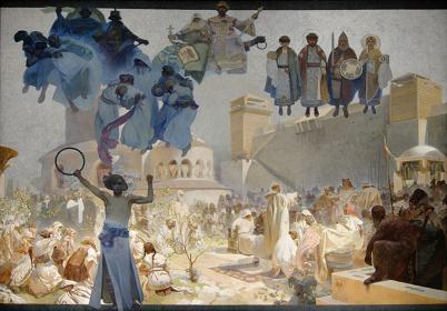 アルフォンス・ミュシャ『スラヴ叙事詩「スラヴ式典礼の導入」』1912年 プラハ市立美術館 ©Prague City Gallery