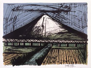 ベルナール・ビュフェ『「日本への旅」富士山と汽車』リトグラフ 1981年