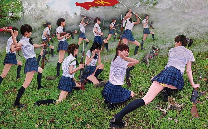 チェン・チンヤオ『草地上的 AK47 少女』2015~2017年 参考図版