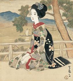 竹久夢二『湖畔の舞妓』大正初期
