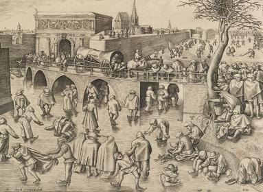 ピーテル・ブリューゲル1世(下絵)/フランス・ハイス(版刻)『アントワープの聖ゲオルギウス門前のスケート滑り』1558年頃 エングレーヴィング Museum BVB, Rotterdam, Netherlands
