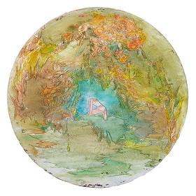 森田晶子『漂着』 2017年 パネルに油彩とアクリル 直径47cm ©Shoko MORITA, courtesy of WAITINGROOM