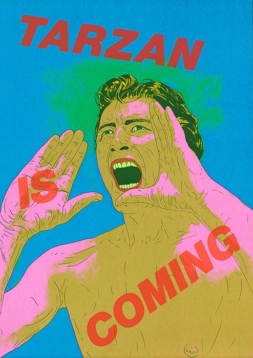 横尾忠則『ターザンがやってくる(緑)』1974年 シルクスクリーン 102.5×72.5cm 横尾忠則現代美術館蔵