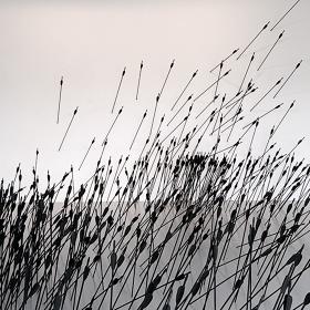 ライアン・ガンダー『ひゅん、ひゅん、ひゅうん、ひゅっ、ひゅうううん あるいは同時代的行為の発生の現代的表象と、斜線の動的様相についてのテオとピエトによる論争の物質的図解と、映画の100シーンのためのクロマキー合成の試作の3つの間に』2010年 ©Ryan Gander, Courtesy of TARO NASU 石川コレクション、岡山
