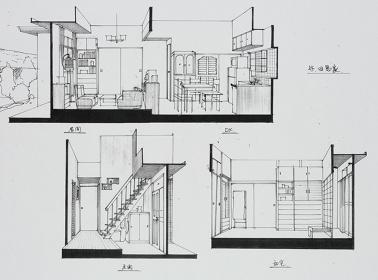 『岸辺のアルバム』セットスケッチ(複製)、1977 個人蔵