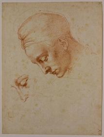 ミケランジェロ・ブオナローティ『〈レダと白鳥〉のための頭部習作』1530年頃、カーサ・ブオナローティ(フィレンツェ)©Associazione Culturale Metamorfosi and Fondazione Casa Buonarroti