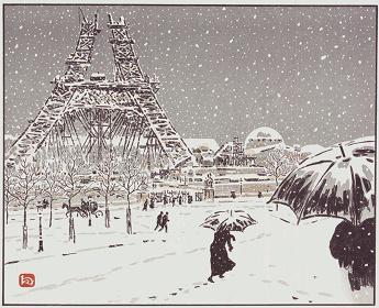 アンリ・リヴィエール『エッフェル塔三十六景 建造のエッフェル塔、 トロカデロからの眺め』