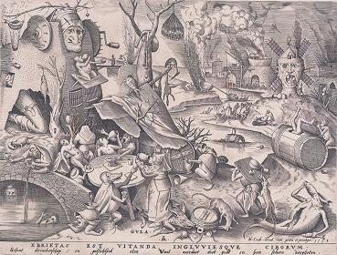 ピーテル・ブリューゲル(父)『大食』原画 1558年 エングレーヴィング、紙 神奈川県立近代美術館 葉山