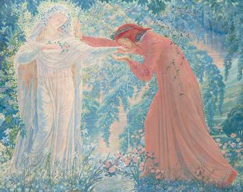 ジャン・デルヴィル『レテ河の水を飲むダンテ』1919年 油彩、キャンヴァス 姫路市立美術館