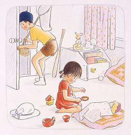『おいていかないで』(1981年)筒井頼子・作、林明子・絵、福音館書店刊、原画は宮城県美術館蔵