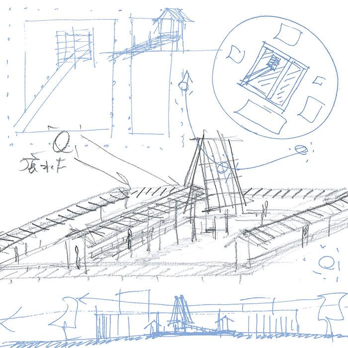 三分一博志『風、水、太陽の社』2017年 金沢21世紀美術館インスタレーションのためのスケッチ ©Sambuichi Hiroshi