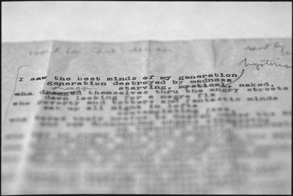 アレン・ギンズバーグ『HOWL』初稿 Courtesy; Allen Ginsberg Estate, Courtesy; Department of Special Collections, Stanford University Libraries.