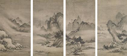 重要文化財『瀟湘八景図』狩野元信筆 四幅 室町時代 16世紀 京都・東海庵