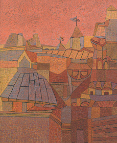 オットー・ネーベル『ムサルターヤの町 IV 景観B』1937年、グアッシュ・紙、ベルン美術館