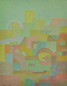 オットー・ネーベル『地中海から(南国)』1935年、水彩・紙、厚紙に貼付、オットー・ネーベル財団
