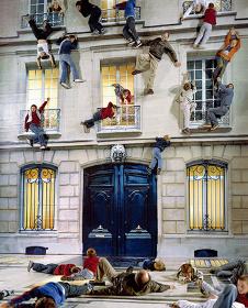 レアンドロ・エルリッヒ『建物』2004年 リノリウムにデジタルプリント、照明、鉄、木材、鏡 800 x 600 x 1,200cm 展示風景:104-パリ、2011年 ※参考図版