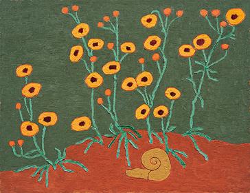 熊谷守一『ハルシヤ菊』1954年 愛知県美術館 木村定三コレクション