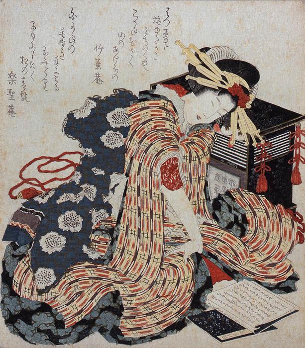 葛飾北斎『枕草子を読む娘』(前期展示)すみだ北斎美術館蔵