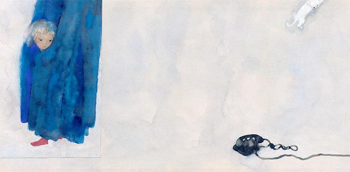 いわさきちひろ『カーテンにかくれる少女』 『あめのひのおるすばん』(至光社)より 1968年