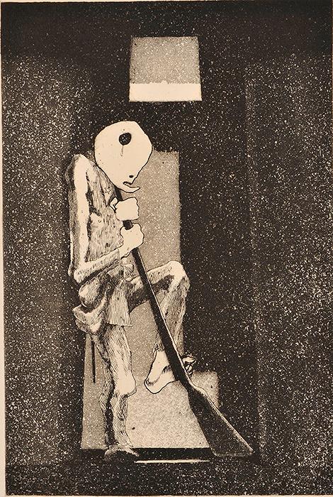浜田知明『初年兵哀歌(歩哨)』1954年 エッチング、アクアチント 町田市立国際版画美術館蔵