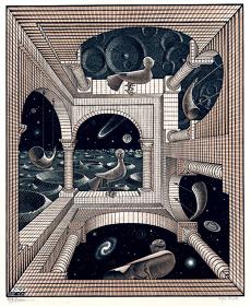 M.C.エッシャー『もう一つの世界』1947年 木口木版・板目木版 ハウステンボス美術館蔵 All M.C.Escher works ©Escher Holding B.V.-Baarn-the Netherlands