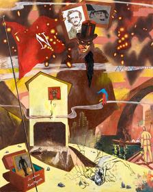 横尾忠則《美の盗賊》2008年 油彩、スタンプ・布 227.3×181.8cm 作家蔵(横尾忠則現代美術館寄託)