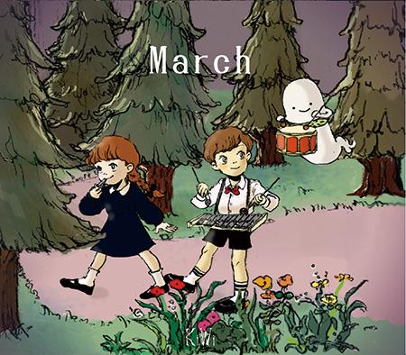 KiWi『March』ジャケット / 右上にいるキャラクターが「おばけのキウィ」
