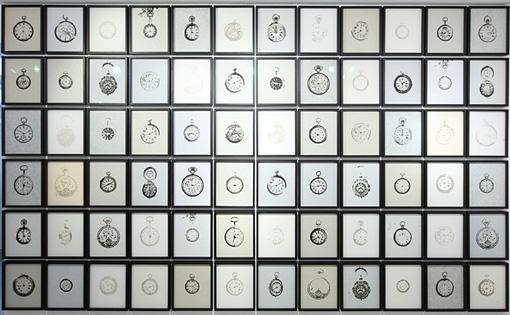 specimen(72 watches) / 2012 / burnt paper / 315mmx265mm(each size 72pieces) ©kosukeichikawa. Photo:木奥恵三