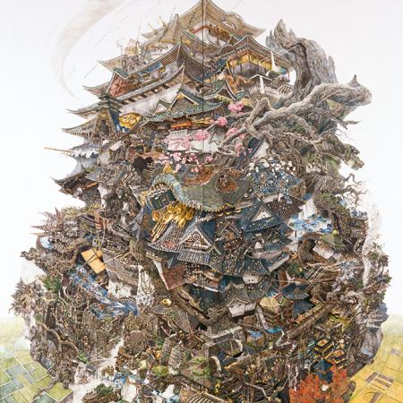 『興亡史』2006年 紙にペン、インク 200×200cm 高橋コレクション蔵 撮影:宮島径 ©IKEDA Manabu / Courtesy Mizuma Art Gallery