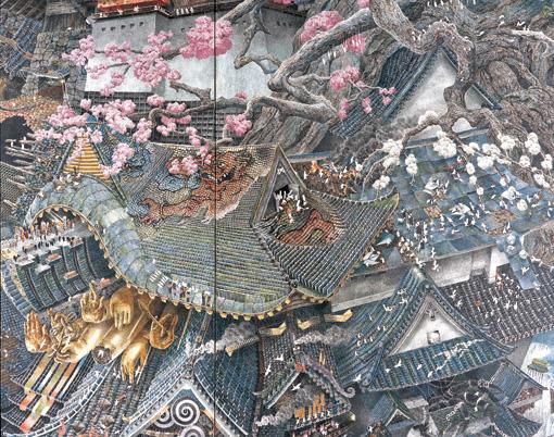 『興亡史』部分 2006年紙にペン、インク 200×200cm 高橋コレクション蔵 撮影:宮島径 ©IKEDA Manabu / Courtesy Mizuma Art Gallery