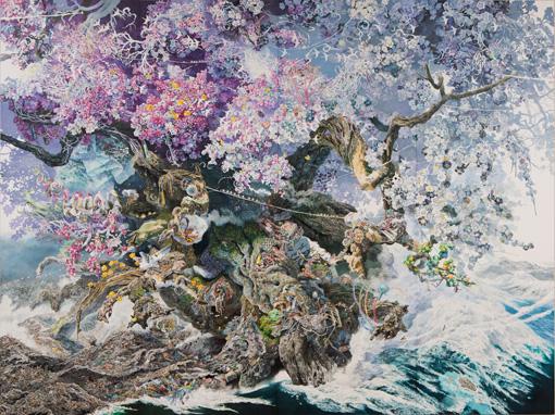 『誕生』2013-2016年 紙にペン、インク、透明水彩 300×400cm Photo by Eric Tadsen for Chazen Museum of Art ©IKEDA Manabu / Courtesy Mizuma Art Gallery, Tokyo/ Singapore