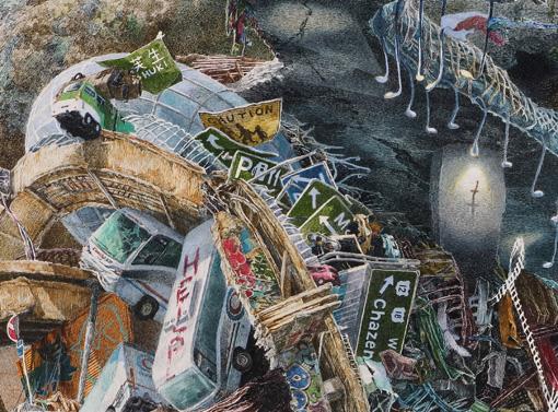 看板の上で手を振る次女が描かれている 『誕生』部分 2013-2016年 紙にペン、インク、透明水彩 300×400cm 撮影:宮島径 ©IKEDA Manabu / Courtesy Mizuma Art Gallery, Tokyo/ Singapore