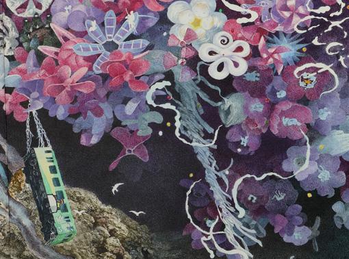 吊られた電車に灯台のイラストが描かれている 『誕生』部分 2013-2016年 紙にペン、インク、透明水彩 300×400cm 撮影:宮島径 ©IKEDA Manabu / Courtesy Mizuma Art Gallery, Tokyo/ Singapore