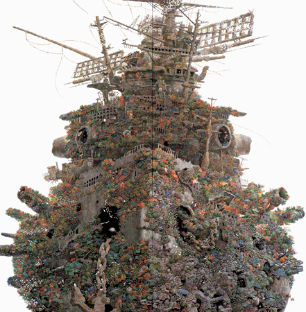 『再生』2001年 紙にペン、インク 162×162cm 浜松市美術館蔵 ©IKEDA Manabu / Courtesy Mizuma Art Gallery