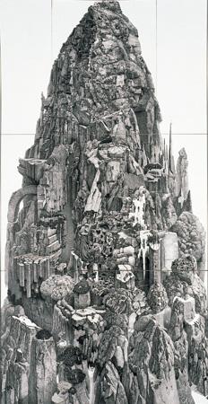 『巌ノ王』1998年 紙にペン、インク 195×100cm おぶせミュージアム・中島千波館蔵 ©IKEDA Manabu / Courtesy Mizuma Art Gallery