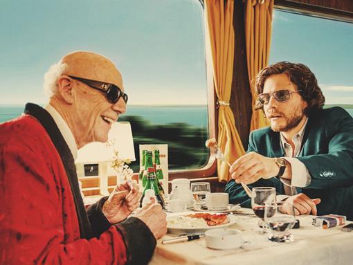 『僕とカミンスキーの旅』メインビジュアル。左から、盲目の画家・カミンスキー、自称美術評論家のゼバスティアン / © 2015 X Filme Creative Pool GmbH / ED Productions Sprl / WDR / Arte / Potemkino / ARRI MEDIA
