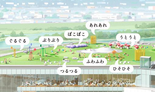 富山県美術館の屋上庭園『オノマトペの屋上』イメージ図