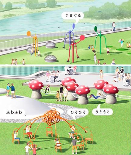 『オノマトペの屋上』に設置される遊具たち