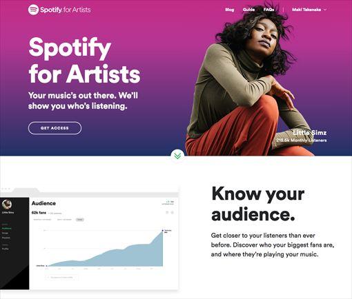 Spotifyのアーティスト専用サイト