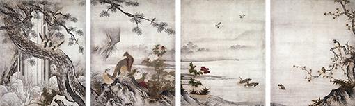 重要文化財『四季花鳥図』狩野元信(16世紀)京都・大仙院 / 8幅のうち4幅 / 展示期間:9月16日~10月2日、10月18日~11月5日(ただし展示替あり) / 真体