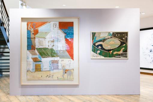 日比野克彦『HOUSE』(1983年)、『RECORD PLAYER』(1983年) / 『SIDE CORE-日本美術とストリートの「感性」』展示風景