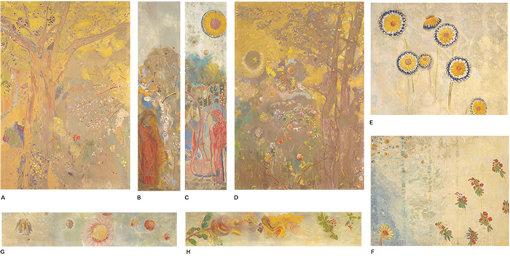 1893年にロベール・ド・ドムシー男爵は、城館の大食堂の壁面全体を覆う装飾をルドンに任せた。その全16点の装飾画が本展で一堂に会している / ドムシー男爵の城館の食堂壁画15枚のうち A.『黄色い背景の樹』B.『人物』 C.『人物(黄色い花)』 D.『黄色い背景の樹』 E.『ひな菊』 F.『花とナナカマドの実』 G.『花のフリーズ(赤いひな菊)』 H.『花と実のフリーズ』(1900-1901年) オルセー美術館蔵 Photo©RMN-Grand Palais (musée d'Orsay) / Hervé Lewandowski / distributed by AMF
