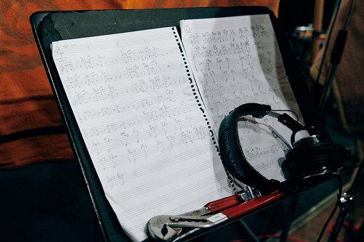 小田の譜面。7thコードが連なっている