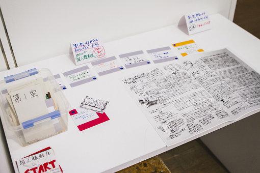 併置されたカフェにはプログラム『高校生ウィーク2018』の一環として開催した連続ワークショップ「書く。部」による本展のギャラリーガイドなども展示されていた