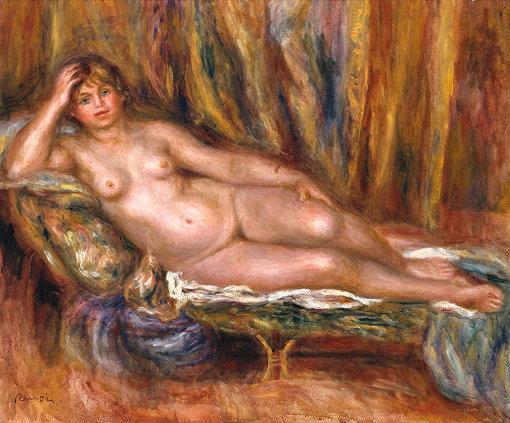 印象派を代表する画家ルノワールの作品 / オーギュスト・ルノワール『ソファに横たわる裸婦』1915年 油彩 / カンヴァス Tate: Bequeathed by Mrs A.F. Kessler 1983 image © Tate, London 2017