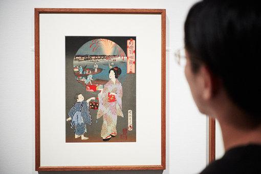 揚州周延 (彫り:圓活)『幻燈写真競 川開』横山良八発行 1890年