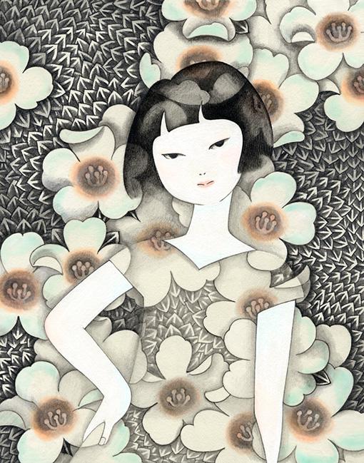 近藤聡乃『染み込む花園』イラストボードに鉛筆、アクリル絵具 25.7×18.2cm 2003