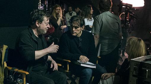 『ハウス・ジャック・ビルト』撮影中のラース・フォン・トリアー(左)と、マット・ディロン(右)photo by Zentropa-Christian Geisnaes