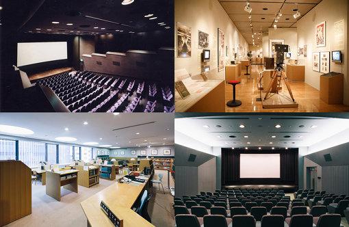 (上段左から下段右へ)長瀬記念ホール OZU、展示室の常設展「NFAJコレクションでみる 日本映画の歴史」、図書室、「第2回 Rising Filmmakers Project 次世代を拓く日本映画の才能を探して」の会場である小ホール